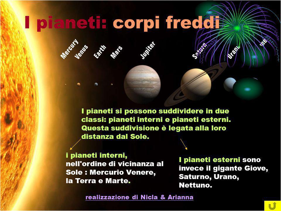 realizzazione di Nicla & Arianna I pianeti si possono suddividere in due classi: pianeti interni e pianeti esterni. Questa suddivisione è legata alla
