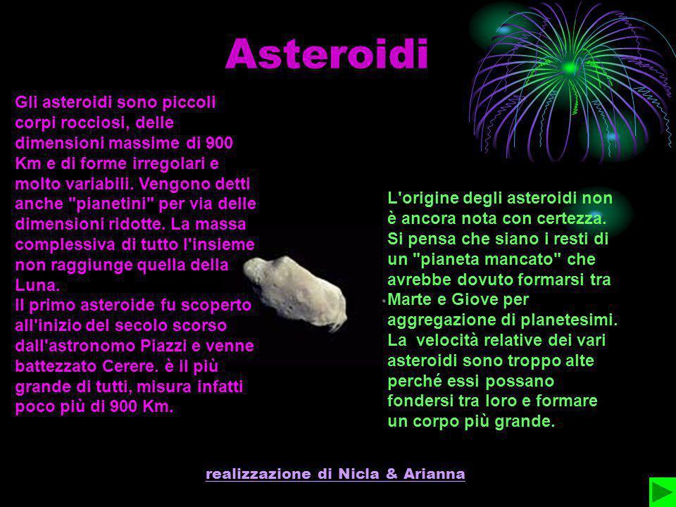 realizzazione di Nicla & Arianna Asteroidi Gli asteroidi sono piccoli corpi rocciosi, delle dimensioni massime di 900 Km e di forme irregolari e molto