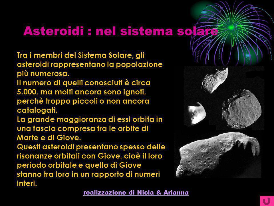 realizzazione di Nicla & Arianna Asteroidi : nel sistema solare Tra i membri del Sistema Solare, gli asteroidi rappresentano la popolazione più numero