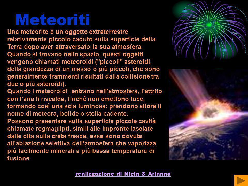 realizzazione di Nicla & Arianna Meteoriti Una meteorite è un oggetto extraterrestre relativamente piccolo caduto sulla superficie della Terra dopo av
