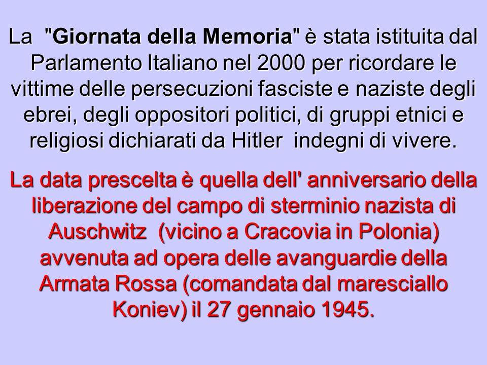 E successo solo 60 anni fa eppure non tutti ricordano… La Giornata della Memoria è stata istituita per legge dal Parlamento italiano per ricordare le vittime del nazismo, in particolare gli ebrei, i deportati, gli internati militari, a più di cinquantanni di distanza dallepoca dei fatti.