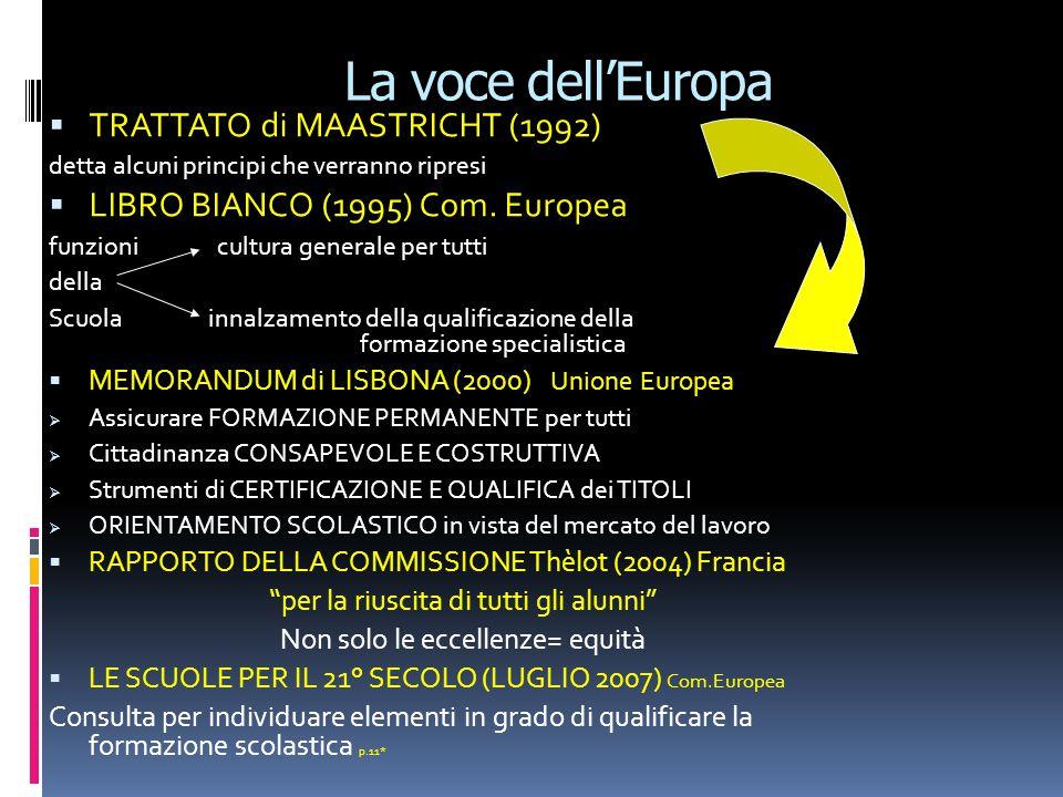 La voce dellEuropa TRATTATO di MAASTRICHT (1992) detta alcuni principi che verranno ripresi LIBRO BIANCO (1995) Com.