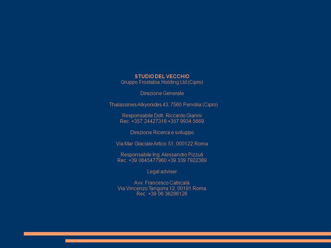 STUDIO DEL VECCHIO Gruppo Frostabia Holding Ltd (Cipro) Direzione Generale Thalassines Alkyonides 43, 7560 Pervolia (Cipro) Responsabile Dott. Riccard