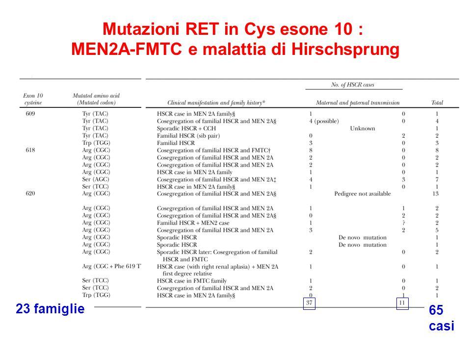 23 famiglie 65 casi Mutazioni RET in Cys esone 10 : MEN2A-FMTC e malattia di Hirschsprung