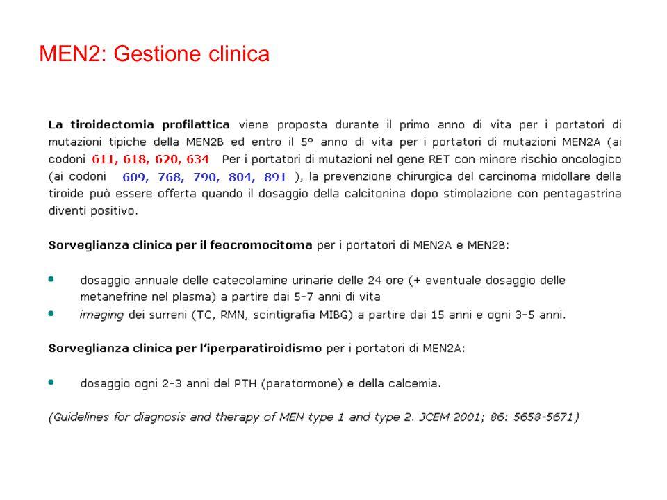 MEN2: Gestione clinica 611, 618, 620, 634 609, 768, 790, 804, 891