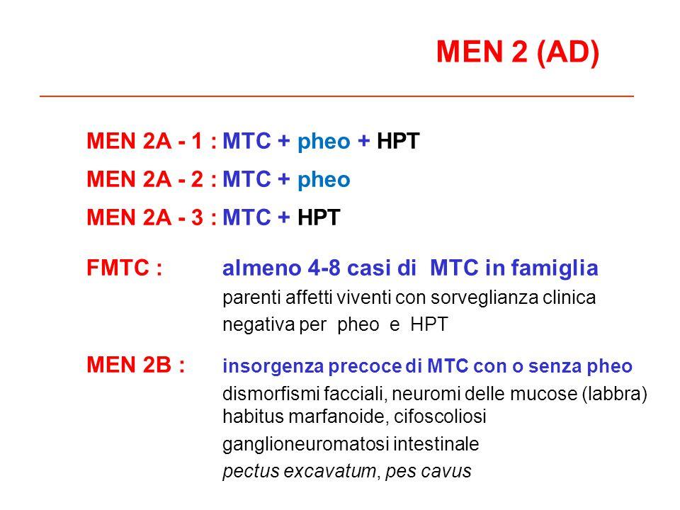 MEN 2 (AD) MEN 2A - 1 :MTC + pheo + HPT MEN 2A - 2 :MTC + pheo MEN 2A - 3 :MTC + HPT FMTC :almeno 4-8 casi di MTC in famiglia parenti affetti viventi