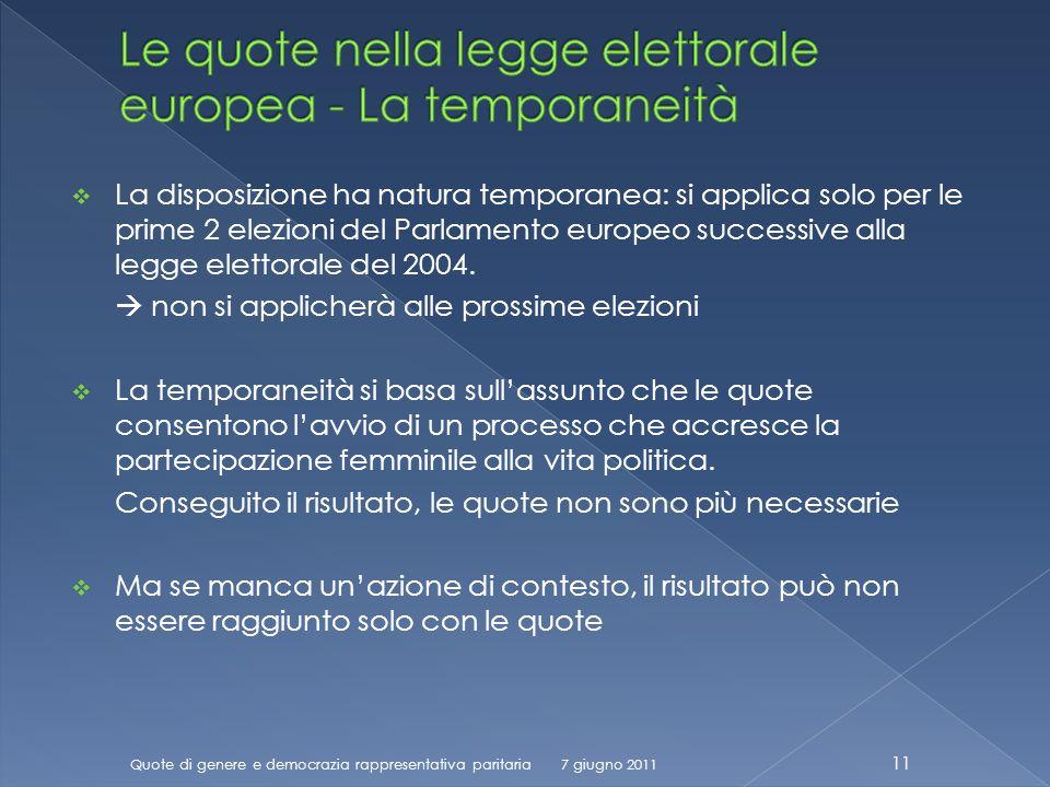 La disposizione ha natura temporanea: si applica solo per le prime 2 elezioni del Parlamento europeo successive alla legge elettorale del 2004.