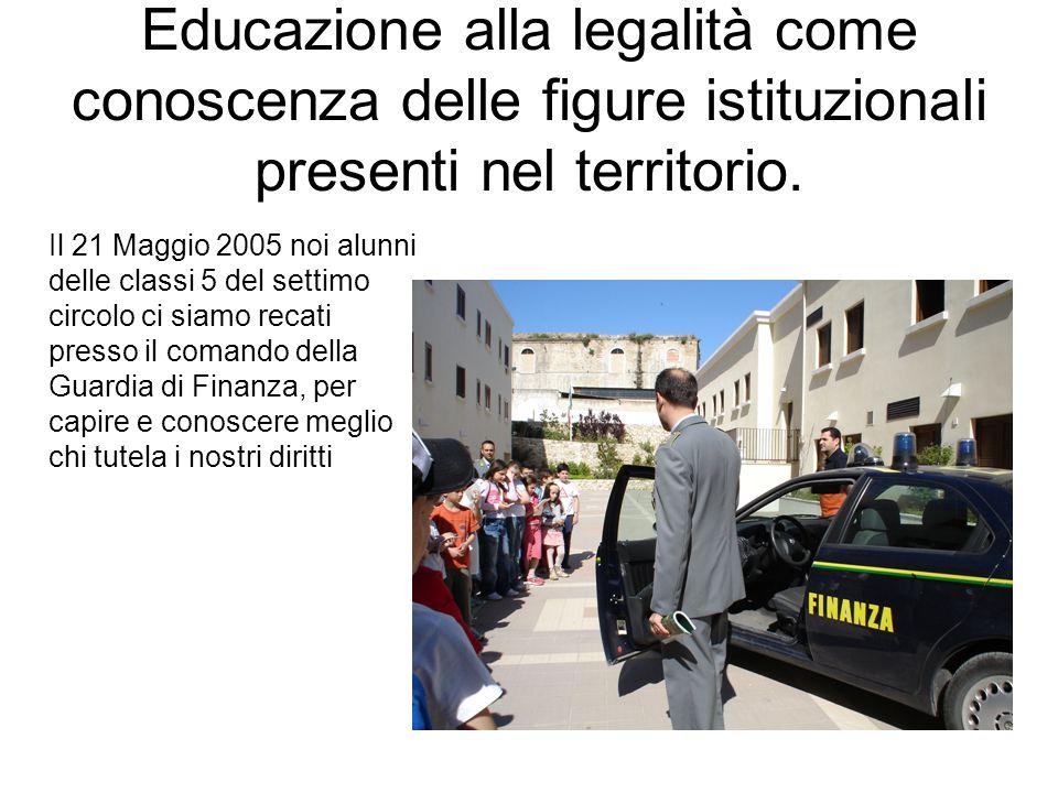 Educazione alla legalità come conoscenza delle figure istituzionali presenti nel territorio. Il 21 Maggio 2005 noi alunni delle classi 5 del settimo c