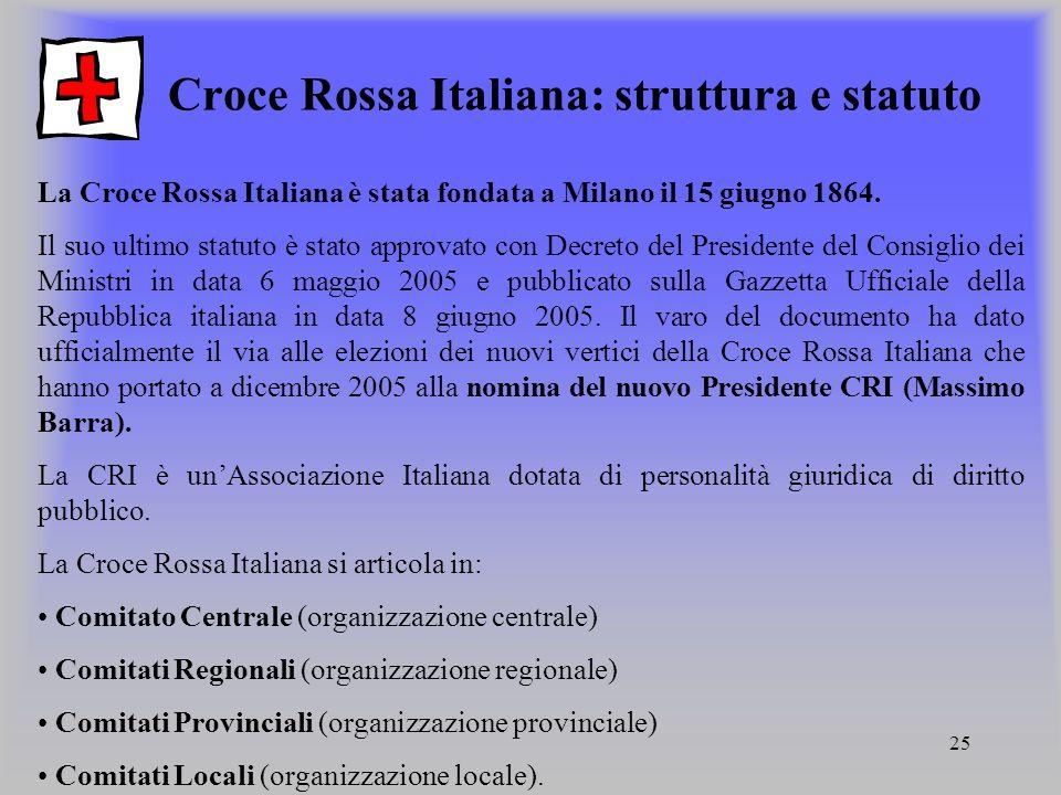 25 Croce Rossa Italiana: struttura e statuto La Croce Rossa Italiana è stata fondata a Milano il 15 giugno 1864. Il suo ultimo statuto è stato approva
