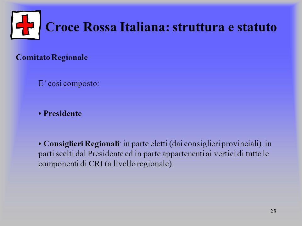 28 Croce Rossa Italiana: struttura e statuto Comitato Regionale E così composto: Presidente Consiglieri Regionali: in parte eletti (dai consiglieri pr