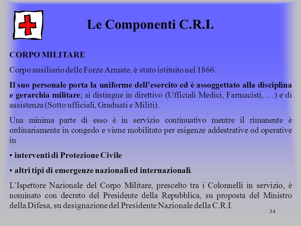 34 Le Componenti C.R.I. CORPO MILITARE Corpo ausiliario delle Forze Armate, è stato istituito nel 1866. Il suo personale porta la uniforme dellesercit