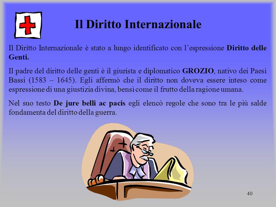 40 Il Diritto Internazionale Il Diritto Internazionale è stato a lungo identificato con lespressione Diritto delle Genti. Il padre del diritto delle g