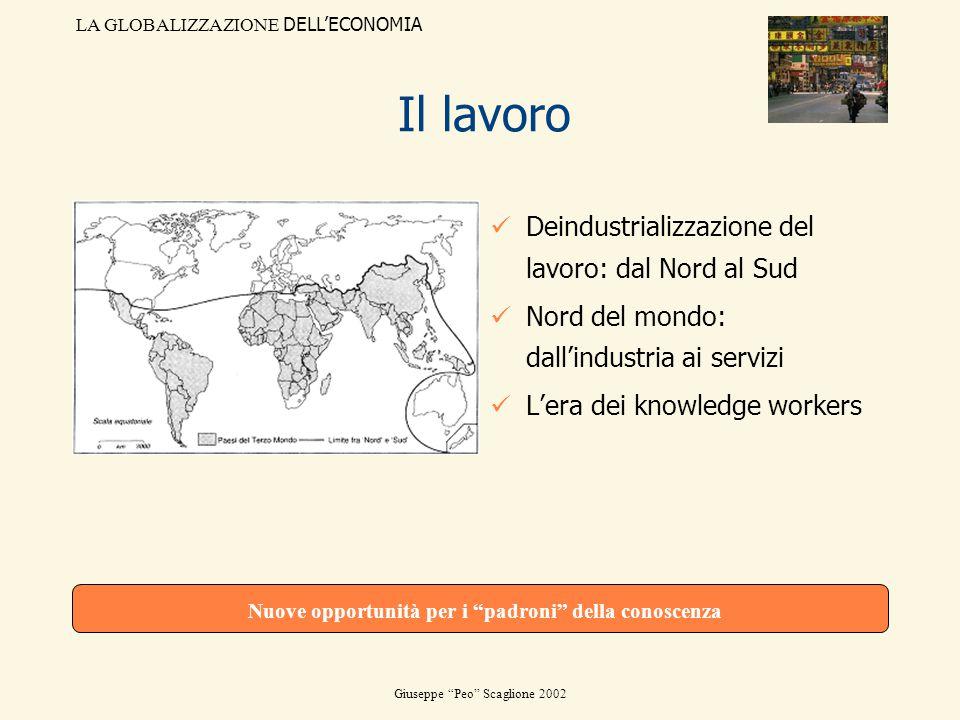 LA GLOBALIZZAZIONE DELLECONOMIA Giuseppe Peo Scaglione 2002 Il lavoro Deindustrializzazione del lavoro: dal Nord al Sud Nord del mondo: dallindustria