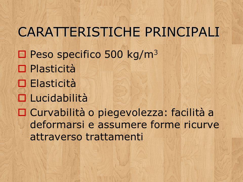 CARATTERISTICHE PRINCIPALI Peso specifico 500 kg/m 3 Plasticità Elasticità Lucidabilità Curvabilità o piegevolezza: facilità a deformarsi e assumere f