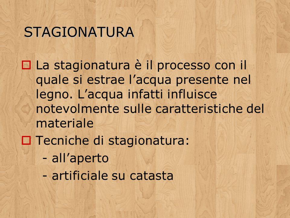 STAGIONATURA La stagionatura è il processo con il quale si estrae lacqua presente nel legno. Lacqua infatti influisce notevolmente sulle caratteristic