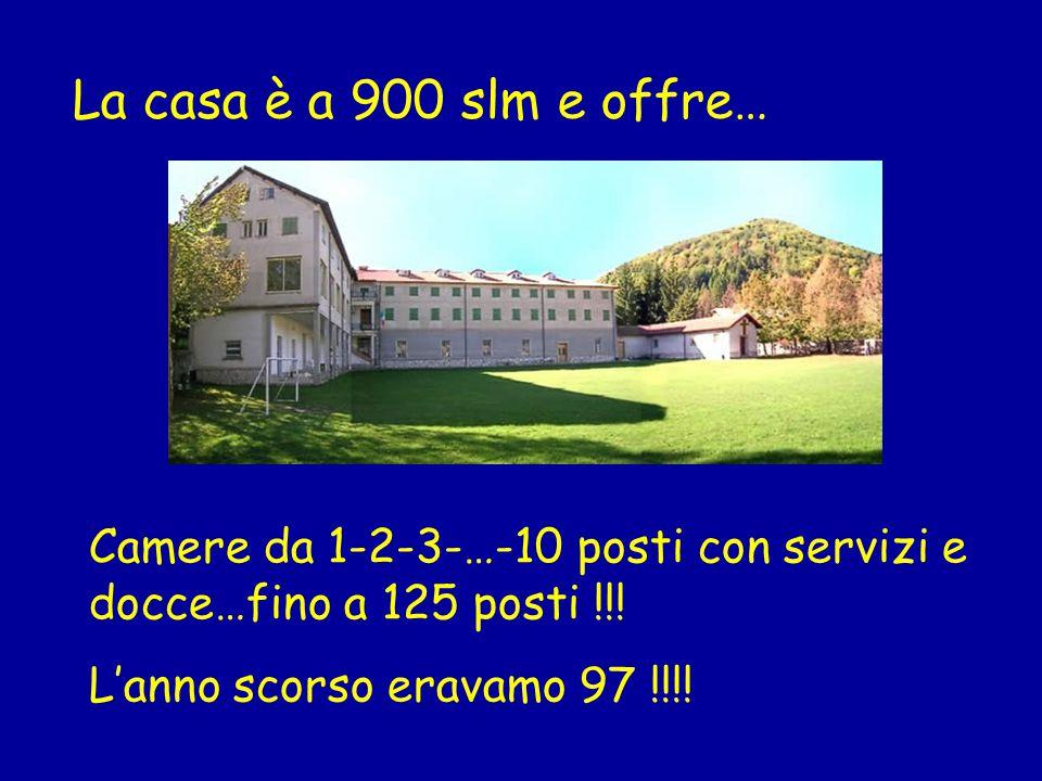 La casa è a 900 slm e offre… Camere da 1-2-3-…-10 posti con servizi e docce…fino a 125 posti !!.