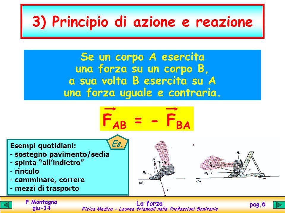 P.Montagna giu-14 La forza Fisica Medica – Lauree triennali nelle Professioni Sanitarie pag.7 Newton e dina forza = massa accelerazione F= maN SI: Newton 1 N = 1 kg 1 m/s 2 cgs: dina 1 dina = 1 g 1 cm/s 2 100000 1000 100 1 N = forza che, applicata a un corpo di massa 1 kg, produce unaccelerazione di 1 m/s 2 1 dina = forza che, applicata a un corpo di massa 1 g, produce unaccelerazione di 1 cm/s 2 1 N = 1 kg 1 m/s 2 = 10 3 g 10 2 cm/s 2 = 10 5 dine 1 dina = 1 g 1 cm/s 2 = 10 -3 kg 10 -2 m/s 2 = 10 -5 N Es.