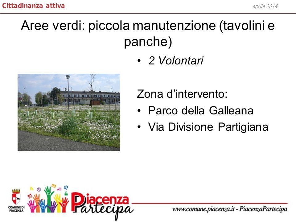 Aree verdi: piccola manutenzione (tavolini e panche) 2 Volontari Zona dintervento: Parco della Galleana Via Divisione Partigiana aprile 2014 Cittadinanza attiva