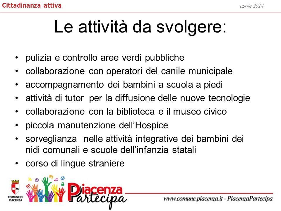 Le attività da svolgere: aprile 2014 Cittadinanza attiva pulizia e controllo aree verdi pubbliche collaborazione con operatori del canile municipale a