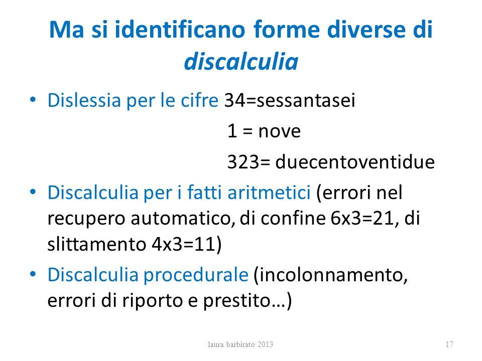 Ma si identificano forme diverse di discalculia Dislessia per le cifre 34=sessantasei 1 = nove 323= duecentoventidue Discalculia per i fatti aritmetic