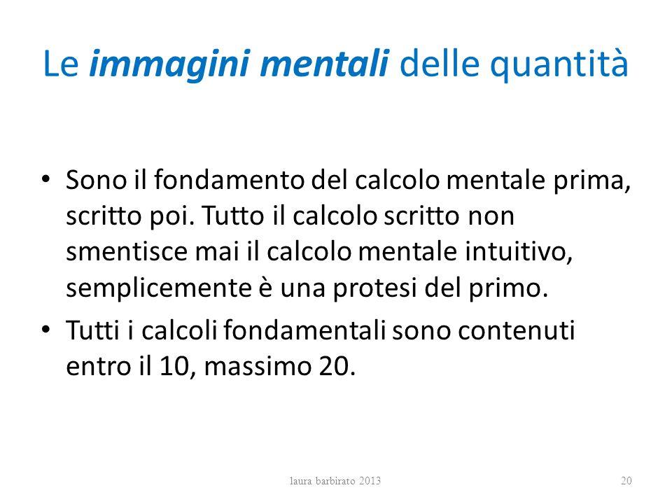 Le immagini mentali delle quantità Sono il fondamento del calcolo mentale prima, scritto poi. Tutto il calcolo scritto non smentisce mai il calcolo me