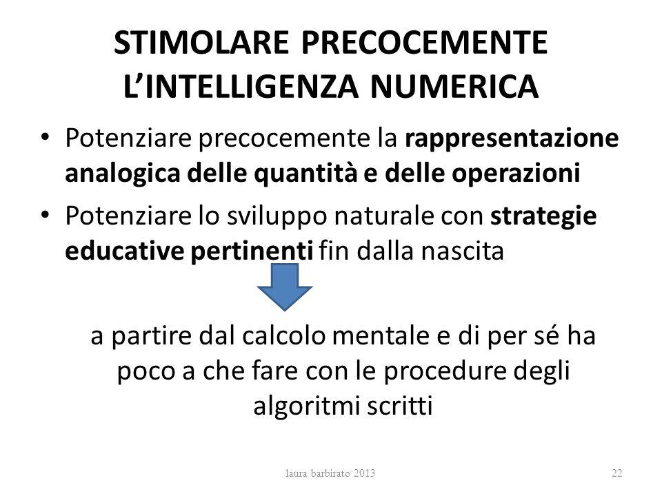 STIMOLARE PRECOCEMENTE LINTELLIGENZA NUMERICA Potenziare precocemente la rappresentazione analogica delle quantità e delle operazioni Potenziare lo sv