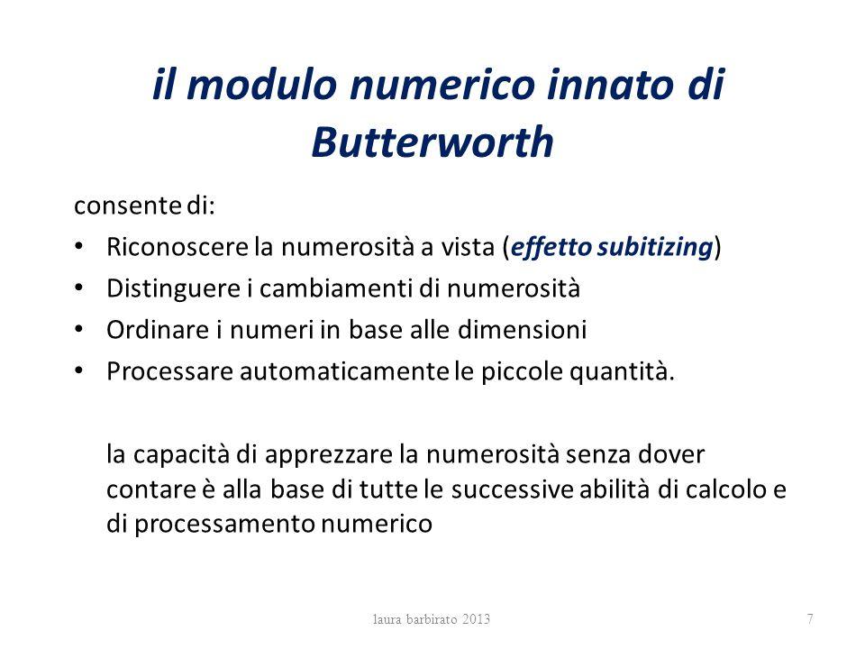 il modulo numerico innato di Butterworth consente di: Riconoscere la numerosità a vista (effetto subitizing) Distinguere i cambiamenti di numerosità O