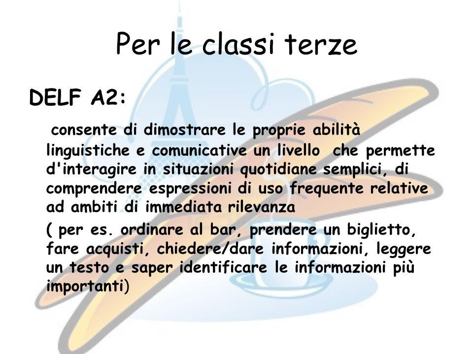 Per le classi terze DELF A2: consente di dimostrare le proprie abilità linguistiche e comunicative un livello che permette d interagire in situazioni quotidiane semplici, di comprendere espressioni di uso frequente relative ad ambiti di immediata rilevanza ( per es.