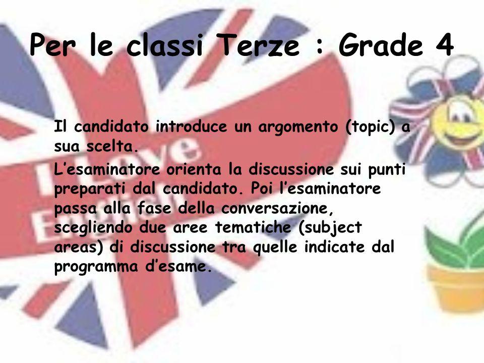 Per le classi Terze : Grade 4 Il candidato introduce un argomento (topic) a sua scelta.