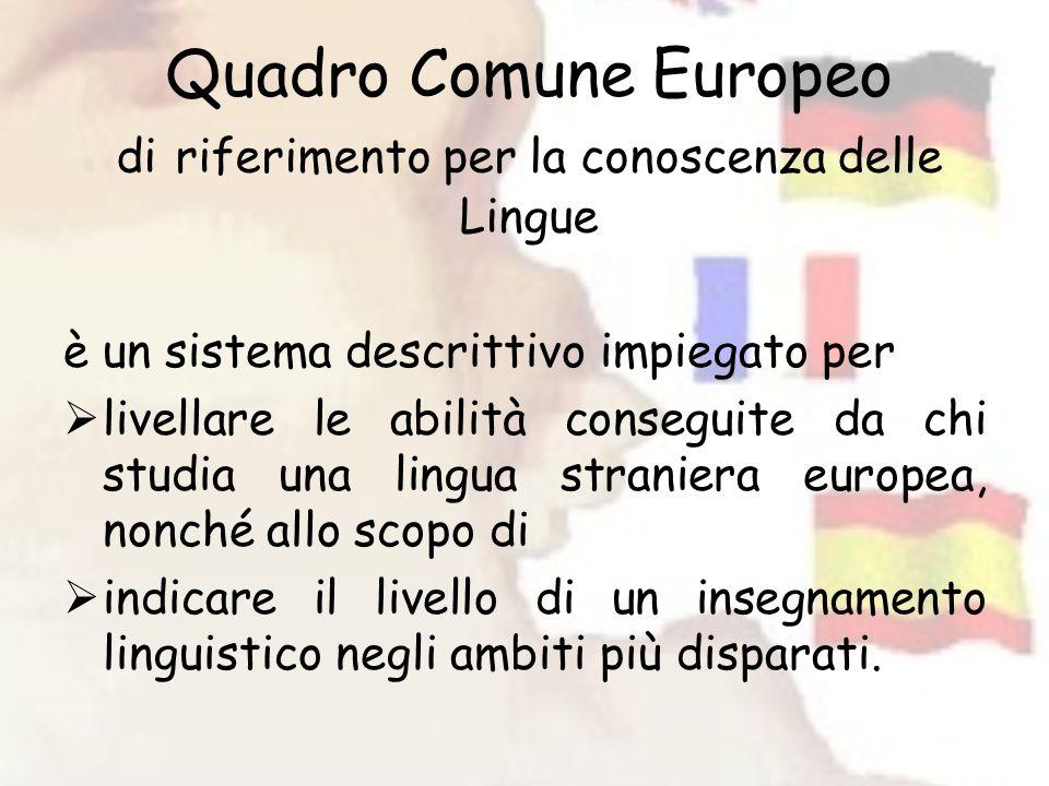 Quadro Comune Europeo di riferimento per la conoscenza delle Lingue è un sistema descrittivo impiegato per livellare le abilità conseguite da chi studia una lingua straniera europea, nonché allo scopo di indicare il livello di un insegnamento linguistico negli ambiti più disparati.