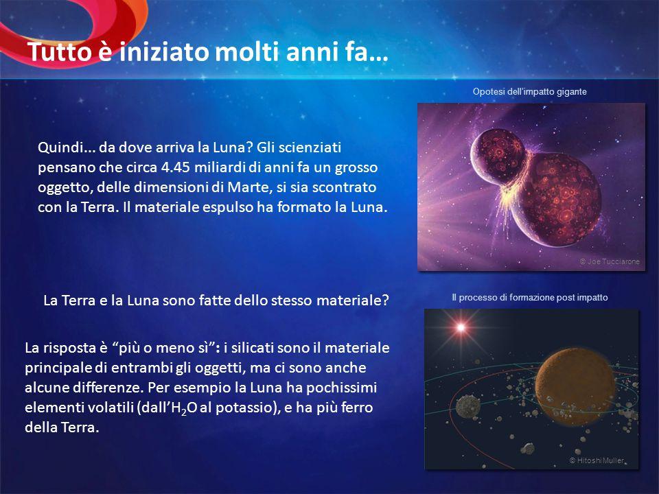 Quindi... da dove arriva la Luna? Gli scienziati pensano che circa 4.45 miliardi di anni fa un grosso oggetto, delle dimensioni di Marte, si sia scont