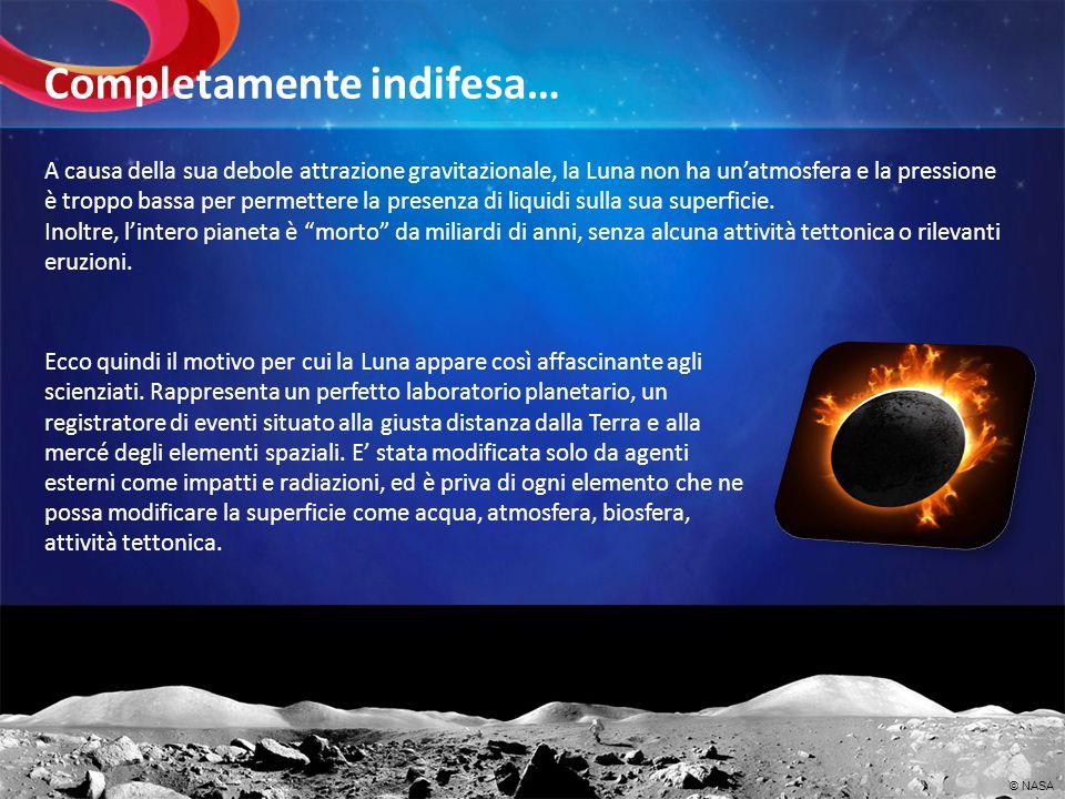 A causa della sua debole attrazione gravitazionale, la Luna non ha unatmosfera e la pressione è troppo bassa per permettere la presenza di liquidi sul