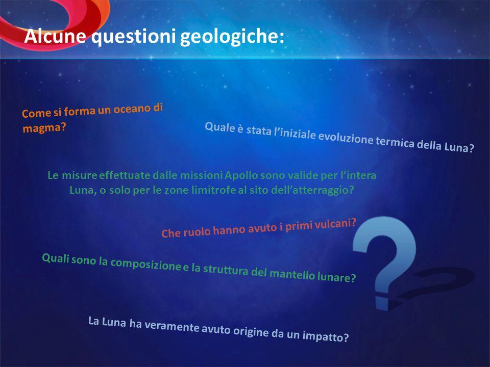Alcune questioni geologiche: Come si forma un oceano di magma? Quale è stata liniziale evoluzione termica della Luna? Quali sono la composizione e la