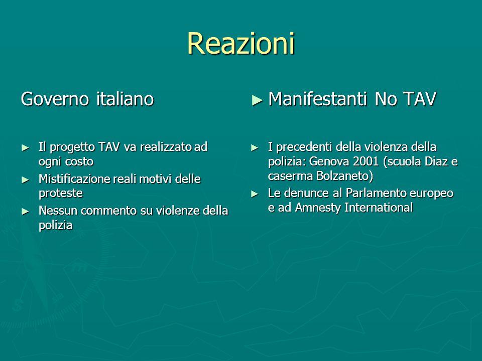 Reazioni Governo italiano Il progetto TAV va realizzato ad ogni costo Il progetto TAV va realizzato ad ogni costo Mistificazione reali motivi delle pr