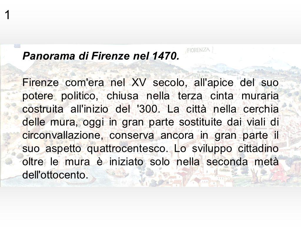 1 Panorama di Firenze nel 1470. Firenze com'era nel XV secolo, all'apice del suo potere politico, chiusa nella terza cinta muraria costruita all'inizi