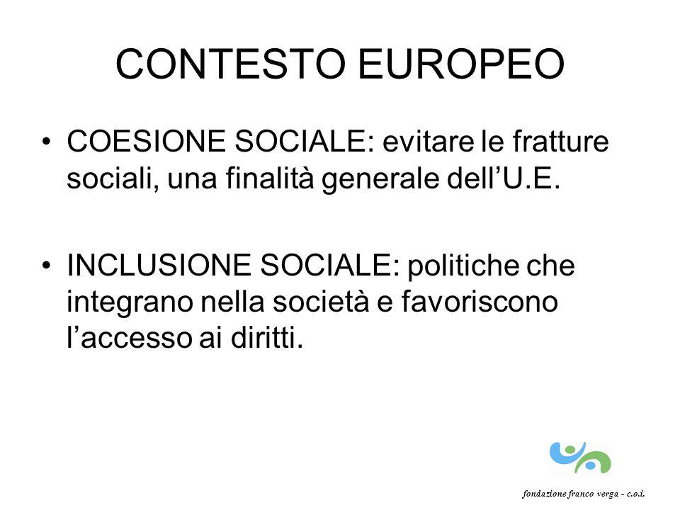 CONTESTO EUROPEO COESIONE SOCIALE: evitare le fratture sociali, una finalità generale dellU.E. INCLUSIONE SOCIALE: politiche che integrano nella socie