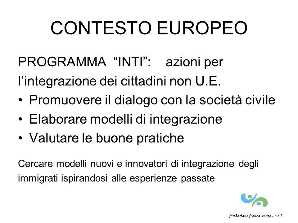 CONTESTO EUROPEO PROGRAMMA INTI: azioni per lintegrazione dei cittadini non U.E. Promuovere il dialogo con la società civile Elaborare modelli di inte