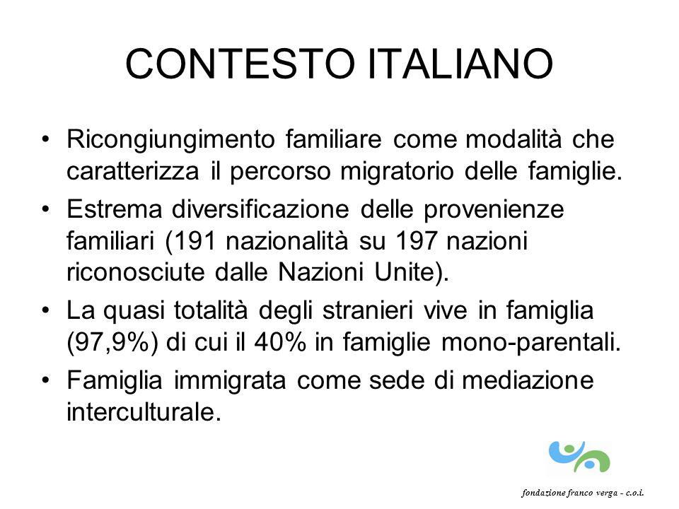 CONTESTO ITALIANO Ricongiungimento familiare come modalità che caratterizza il percorso migratorio delle famiglie. Estrema diversificazione delle prov
