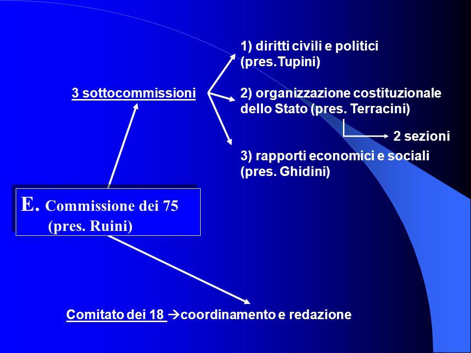 3 sottocommissioni Comitato dei 18 coordinamento e redazione E.