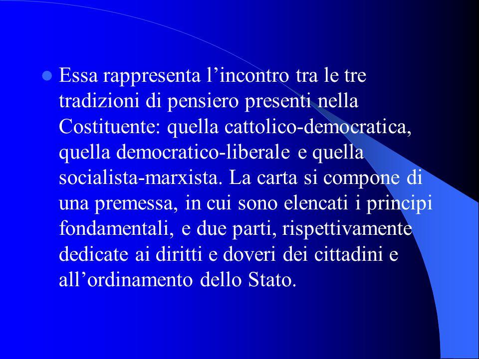 Essa rappresenta lincontro tra le tre tradizioni di pensiero presenti nella Costituente: quella cattolico-democratica, quella democratico-liberale e quella socialista-marxista.