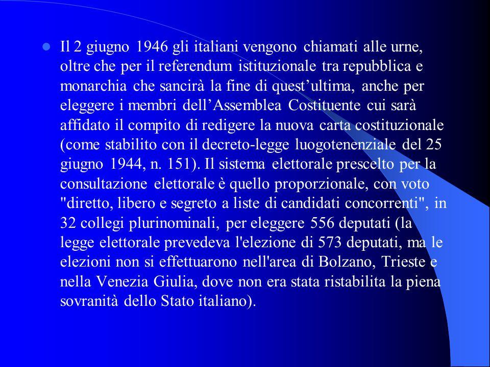 Il 2 giugno 1946 gli italiani vengono chiamati alle urne, oltre che per il referendum istituzionale tra repubblica e monarchia che sancirà la fine di questultima, anche per eleggere i membri dellAssemblea Costituente cui sarà affidato il compito di redigere la nuova carta costituzionale (come stabilito con il decreto-legge luogotenenziale del 25 giugno 1944, n.