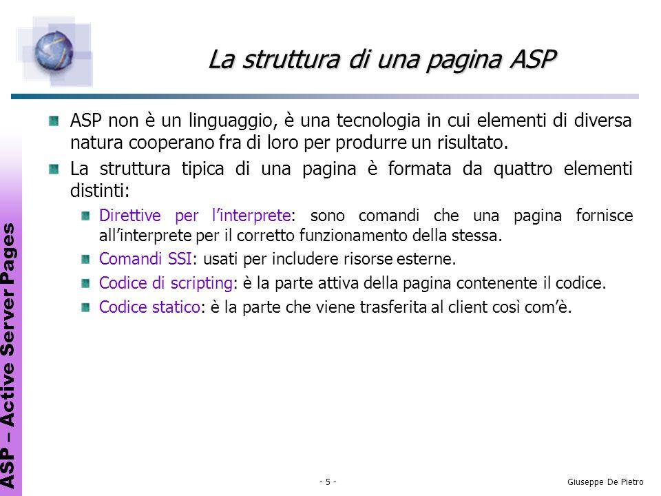 ASP – Active Server Pages - 16 -Giuseppe De Pietro