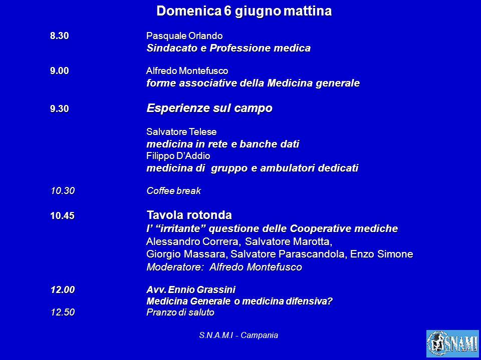 S.N.A.M.I - Campania Domenica 6 giugno mattina 8.30Pasquale Orlando Sindacato e Professione medica 9.00Alfredo Montefusco forme associative della Medi