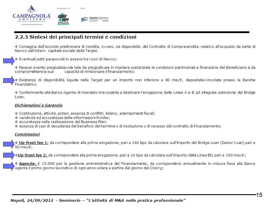 15 Consegna dellaccordo preliminare di Vendita, ovvero, se disponibile, del Contratto di Compravendita, relativo allacquisto da parte di Newco dallint