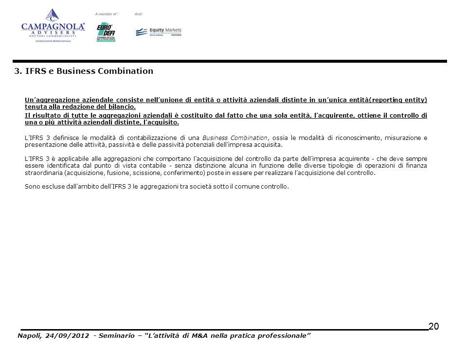 20 Unaggregazione aziendale consiste nellunione di entità o attività aziendali distinte in ununica entità(reporting entity) tenuta alla redazione del