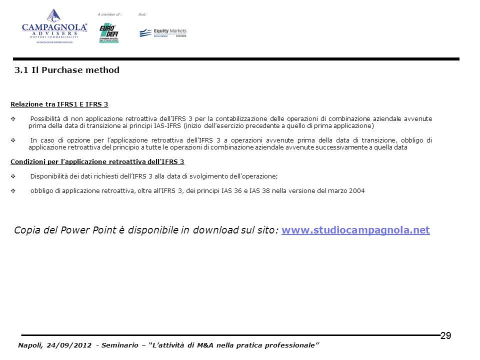 29 3.1 Il Purchase method Relazione tra IFRS1 E IFRS 3 Possibilità di non applicazione retroattiva dellIFRS 3 per la contabilizzazione delle operazion