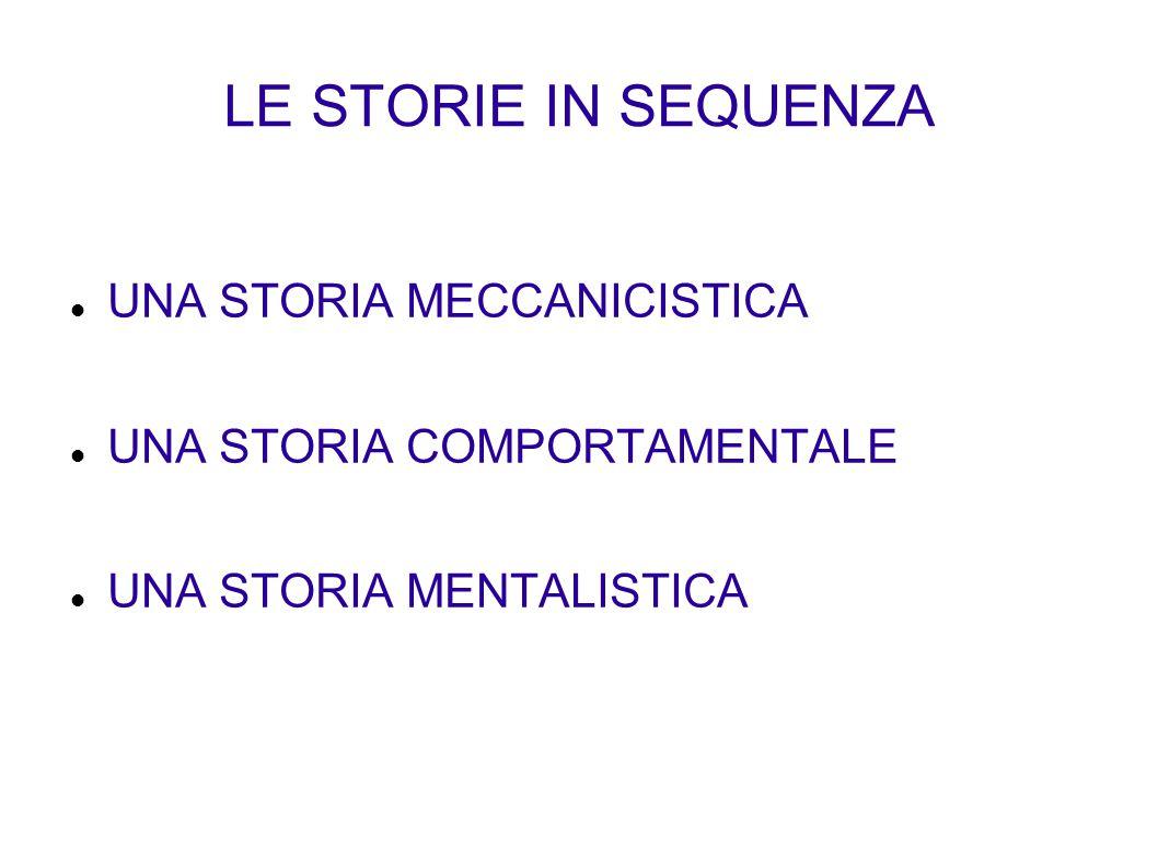 LE STORIE IN SEQUENZA UNA STORIA MECCANICISTICA UNA STORIA COMPORTAMENTALE UNA STORIA MENTALISTICA