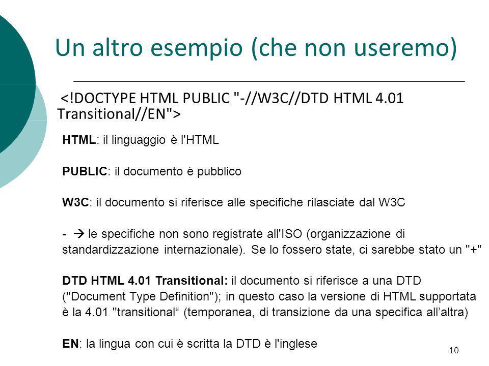 Un altro esempio (che non useremo) 10 HTML: il linguaggio è l'HTML PUBLIC: il documento è pubblico W3C: il documento si riferisce alle specifiche rila