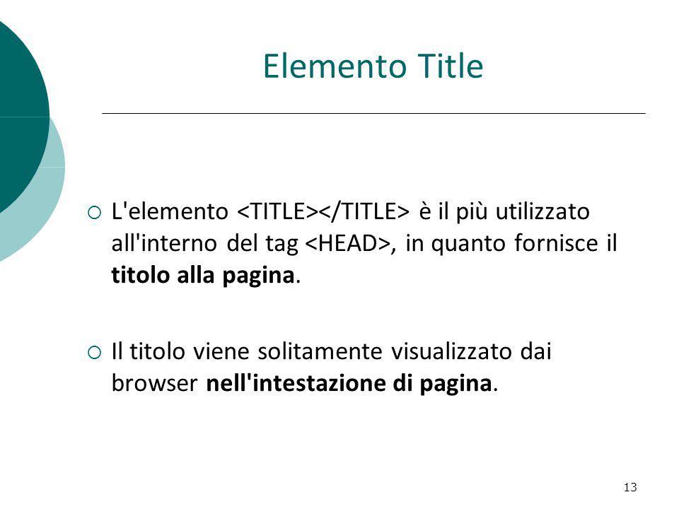 Elemento Title L'elemento è il più utilizzato all'interno del tag, in quanto fornisce il titolo alla pagina. Il titolo viene solitamente visualizzato