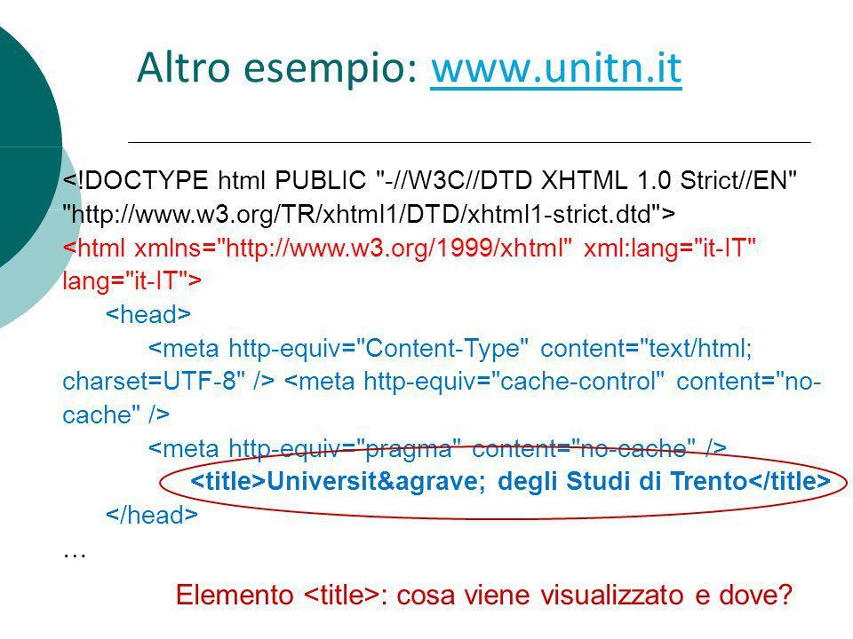 Altro esempio: www.unitn.itwww.unitn.it Università degli Studi di Trento … Elemento : cosa viene visualizzato e dove?